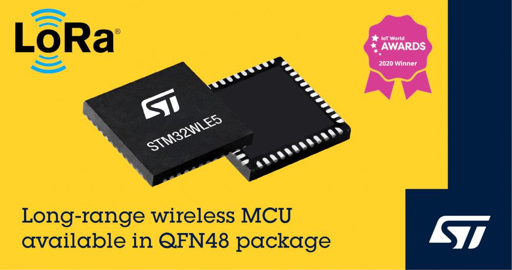 STマイクロエレクトロニクスがLoRa対応ワイヤレス・マイコン STM32WLシリーズに48ピン・パッケージを追加