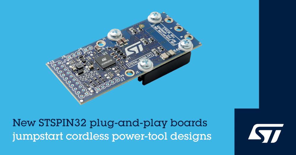 STマイクロエレクトロニクスがコードレス電動工具の開発を簡略化するプラグ・アンド・プレイ型BLDCモータ制御用開発ボードを発表