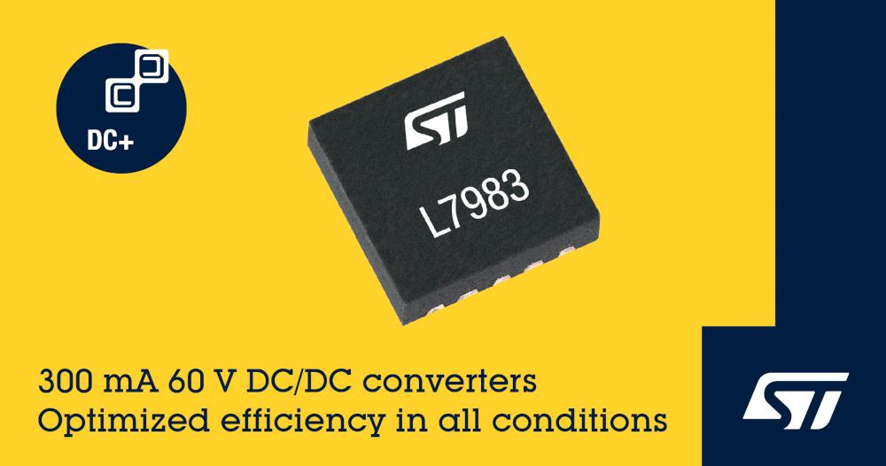 STマイクロエレクトロニクスが柔軟性に優れた小型の60V DC-DCコンバータを発表