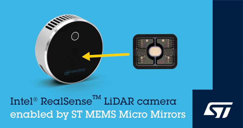STマイクロエレクトロニクスの世界最小MEMSミラーがIntel(R) RealSense(TM) LiDAR カメラ L515に採用