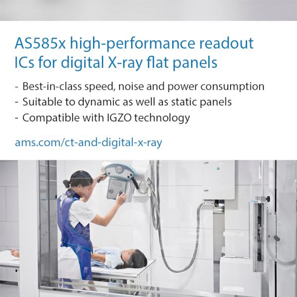 amsの高性能な読み出しIC、医療用および産業用デジタルX線機器メーカーの組立コストを削減