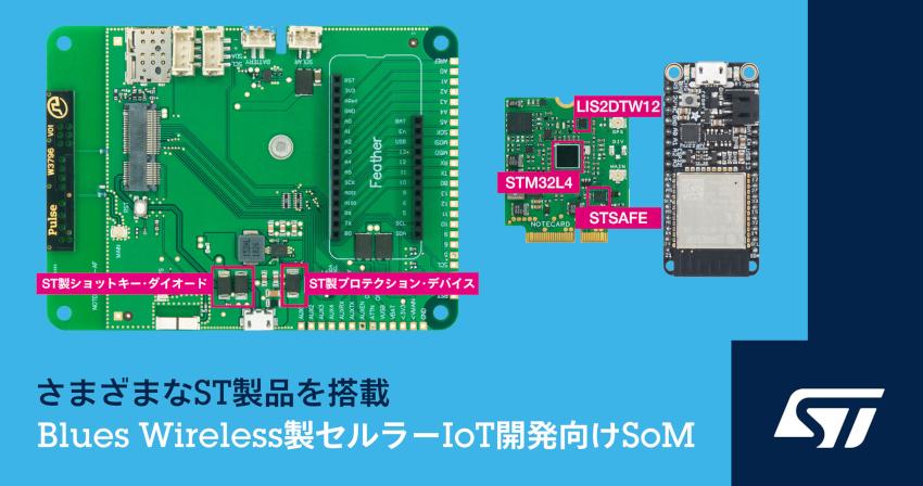 STマイクロエレクトロニクスとBlues Wirelessが組込みアプリケーションへのセルラー技術の導入促進で協力